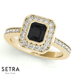 Center Emerald Cut Black Diamond & Round Diamonds Halo Milgrain Setting Engagement 14K Gold Ring