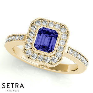 Center Emerald Cut Sapphire & Round Diamonds Halo Engagement Milgrain Setting 14K Gold Ring