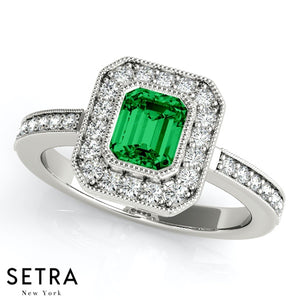 Center Emerald Cut Emerald Gem & Round Diamonds Halo Engagement Milgrain Setting 14K Gold Ring