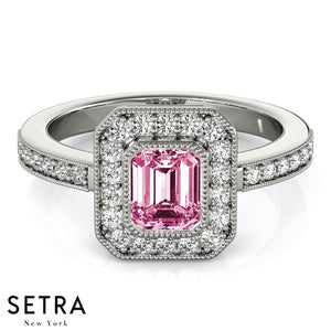 Center Emerald Cut Pink Sapphire & Round Diamonds Halo Milgrain Setting Engagement 14K Gold Ring