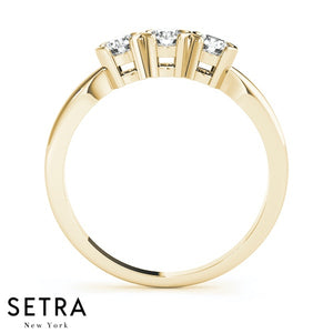HALF MOON BEZEL SET 14K GOLD DIAMONDS WEDDING BANDS RING