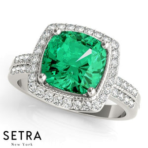 Cushion Cut Emerald & Diamonds Halo Ring 14kt Gold