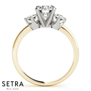 3 STONE ROUND CUT 14K GOLD ENGAGEMENT RINGS