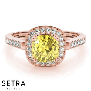 Cushion Cut Yellow Sapphire & Diamonds 14kt Rose Gold Ring