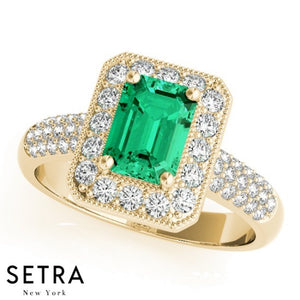 14k Gold Center Radiant Gem & Diamonds Halo Micro-Pave Ring