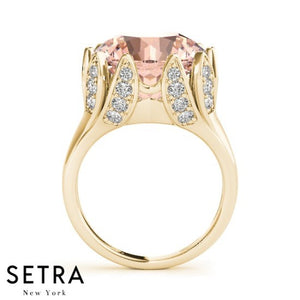 VINTAGE 14K FINE ROSE GOLD DIAMOND CENTER MORGANITE DESIGNER STYLE RIGHT HAND RING