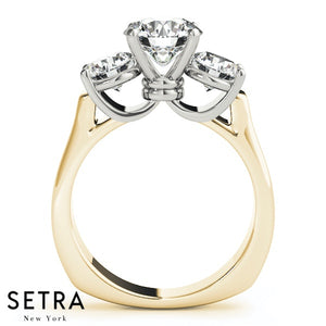 EUROPEAN SHANK DIAMOND ENGAGEMENT 3 STONE  RING ROUND 14K GOLD RING