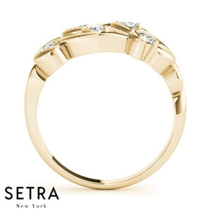 Fine Gold Diamond Prong-Channel Setting 14kt Ring