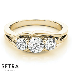 3 STONE ROUND CUT DIAMONDS ELEGANT 14K ROSE FINE GOLD ENGAGEMENT RING