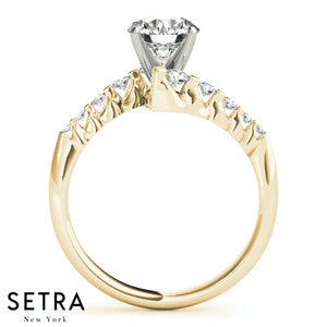 14K FINE GOLD DIAMONDS SOLID WOMEN'S ENGAGEMENT RINGS BYPASS
