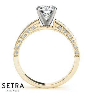 14K GOLD ENGAGEMENT RINGS SINGLE ROW PRONG SET