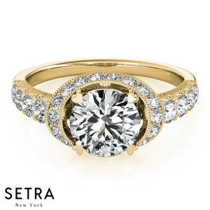 14K FINE GOLD ROUND CUT DIAMOND IN OVAL HALO SEMI-MOUNT ENGAGEMENT RING