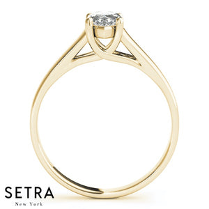 LUCIDA MARQUISE CUT SOLITAIRE DIAMOND ENGAGEMENT RINGS 14K GOLD