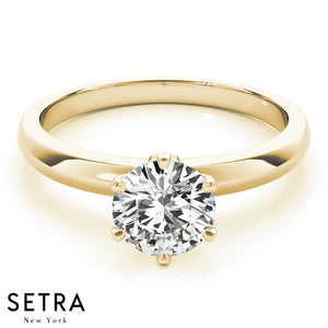14K GOLD SIX PRONG SETTING SOLITAIRE ROUND CUT DIAMOND ENGAGEMENT RINGS