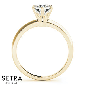0.50 CARAT GOLD SIX PRONG SETTING SOLITAIRE ROUND CUT DIAMOND ENGAGEMENT RING 14k