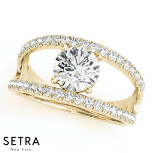 OPEN SHANK DIAMOND ENGAGEMENT 14K GOLD RINGS MULTIROW