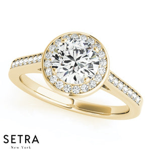 MATCHING SET OF BAND & ENGAGEMENT DIAMOND HALO RINGS