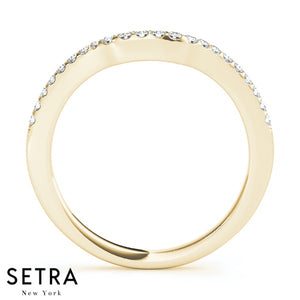 WRAP AROUND CURVED SHAPE STYLE BAND DIAMONDS RING 14K GOLD
