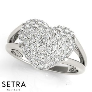 Dome Heart Shape Split 14k Rose Gold Diamond Micro-Pave Setting Ring