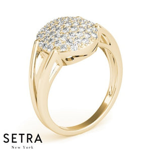 Dome Oval Split 14k Fine Yellow Gold Genuine Diamond Micro-Pave Setting Ring