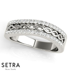 Infinet Elegant 14k Gold Diamond Micro-Pave Setting Ring