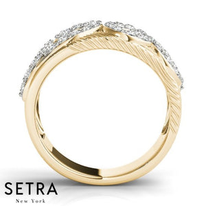 69 Right Hand Fine 14kt Gold Diamond Ring