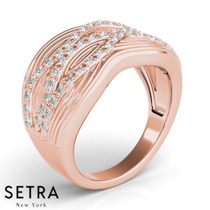 Ocean Wave  Right Hand Fine 14kt Rose Gold Diamond Ring