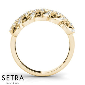 Classic Fine Gold Diamond Prong-Channel Setting 14kt Ring