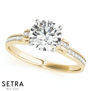 14K GOLD DIAMOND ENGAGEMENT RINGS SINGLE ROW PRONG SET