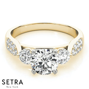 3 STONE ROUND CUT DIAMONDS MICRO PAVE SET 14K FINE GOLD ENGAGEMENT RING