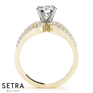 OPEN SHANK DIAMOND ENGAGEMENT RING 14K GOLD