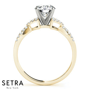X STILY DIAMOND ENGAGEMENT 14K GOLD RING