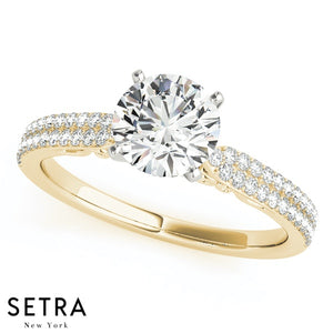 Double Line Row Diamond Engagement Ring Micro-Pave Setting 14kt Gold