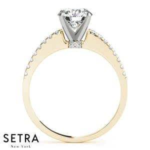 DIAMOND ENGAGEMENT RINGS SINGLE ROW PRONG SET14K GOLD