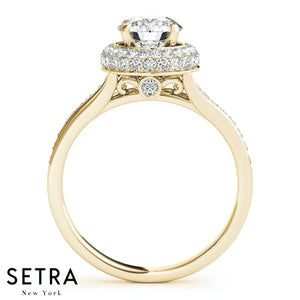 14K FINE GOLD ROUND CUT DIAMOND IN ROUND MICRO PAVE SET HALO SPLIT SHANK ENGAGEMENT RING