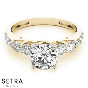 DIAMOND ENGAGEMENT RING SINGLE ROW PRONG SET 14K GOLD