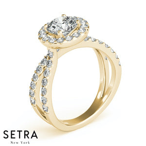 14K FINE GOLD ROUND CUT DIAMOND IN ROUND HALO SEMI-MOUNT ENGAGEMENT SPLIT SHANK RING