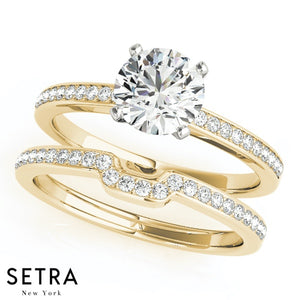 MATCHING SET OF DIAMOND ENGAGEMENT & WEDDING BAND RINGS SINGLE ROW 14K GO;D