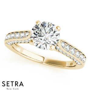 PETITE DIAMOND ENGAGEMENT & WEDDING BAND RING 14K GOLD