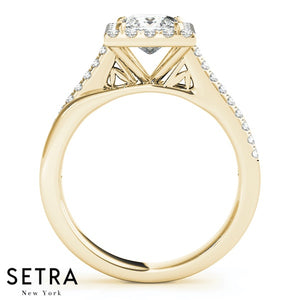 14K GOLD DIAMONDS ENGAGEMENT RINGS HALO SQUARE & CUSHION
