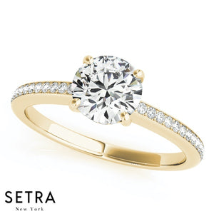 PETITE DIAMOND ENGAGEMENT RING 14K GOLD