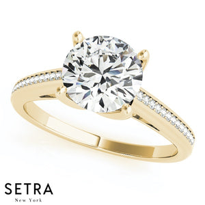 Single Row Band Micro-Pave Setting Engagement Ring 14kt Gold