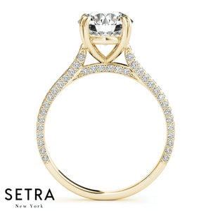 MATCHING SET OF PETITE DIAMOND ENGAGEMENT & WEDDING BAND RING 14K GOLD