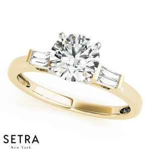 14kt Fine GOLD Semi Mount  Engagement Ring With Side Baguette Tapered Cut
