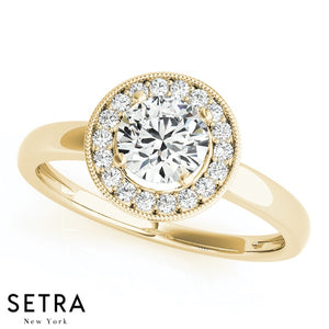 Classic Halo Diamond Engagement 14kt Gold