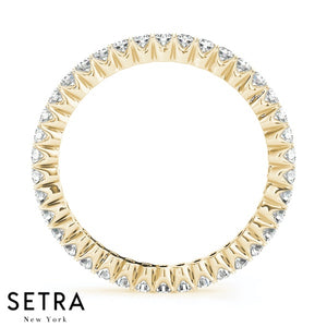 Luna Round Cut Diamond Eternity Wedding Band Ring in 14kt Gold