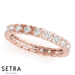 PETITE 14K FINE PINK GOLD DIAMONDS ETERNITY WEDDING BAND RING