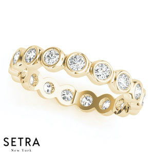 14K FINE GOLD ROUND CUT DIAMONDS BEZEL SET ETERNITY WEDDING BAND RINGS