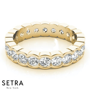 14K FINE GOLD ROUND CUT DIAMONDS HALF MOON ETERNITY WEDDING BAND RINGS