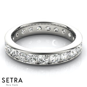 ROUND CUT DIAMOND CHANNEL SET ETERNITY WEDDING BAND